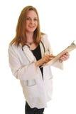 Appunti femminili della holding del medico fotografie stock libere da diritti