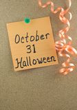 Appunto del 31 ottobre Halloween Immagini Stock