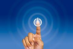 Appuyez sur le bouton d'allumage lumineux d'écran tactile Images libres de droits