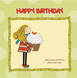 Appy Birthday card with cute girl and cupcake Stock Photos