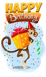 Appy Birthday with monkey gift 2 Royalty Free Stock Photos