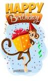Appy Birthday with monkey gift 2 Royalty Free Stock Photos