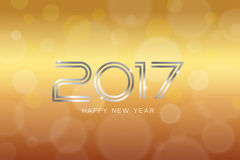 Appy new year 2017 with bokeh and lens flare pattern background. Stock Images
