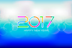 Appy new year 2017 with bokeh and lens flare pattern background. Stock Photos