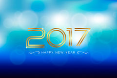Appy new year 2017 with bokeh and lens flare pattern background. Stock Photo
