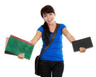 Appy woman college student holding book Stock Photo