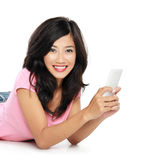 Appy young woman with mobile phone Stock Photos