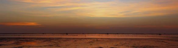 Après coucher du soleil au-dessus du bord de mer et du marécage avec la coquille fa de silhouette Images stock