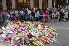 Après la crise mortelle d'otage dans le café de chocolat de Lindt sur Martin Place à Sydney en 2014 Photos stock
