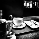 Après le boire Regard artistique en noir et blanc Photo stock