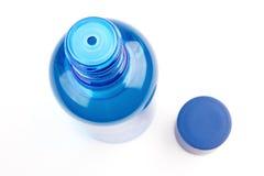 Après le tube bleu de rasage d'isolement sur le blanc Photos stock