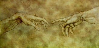 Après Michaël Angelo - Adam et Dieu illustration libre de droits