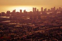 Coucher du soleil au-dessus de Miami du centre Photographie stock libre de droits