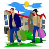 Après qu'un travail, un mari et une épouse du ` s de dure journée avec les paquets lourds rentrent à la maison illustration libre de droits