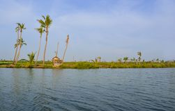 Après tempête arbres et maison de noix de coco cassés près du Kerala, Inde image libre de droits
