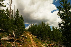 Après un chemin aux nuages photo stock