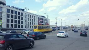 Vintage trams parad. APR 20, 2018, MOSCOW, RUSSIA: Parade of trams that were used in Moscow. Vintage trams go along the streets of the city stock video