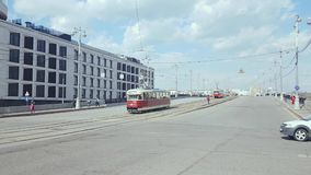 Vintage trams parad. Apr 20, 2018, Moscow, Russia: Parade of trams that were used in Moscow. Vintage trams go along the streets of the city stock footage