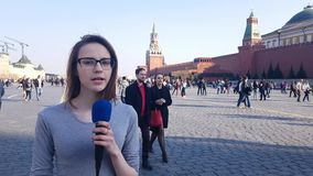 Woman Journalist And Tv Presenter Speaks Into A Microphone. APR 15, 2018 MOSCOW, RUSSIA: Woman Journalist And Tv Presenter Speaks Into A Microphone in Moscow red stock video