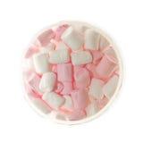 Apra il barattolo di vetro della caramella gommosa e molle rosa e bianca fotografia stock