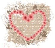 Apra il biglietto di S. Valentino dentellare della poesia di amore delle rose del cuore Immagini Stock