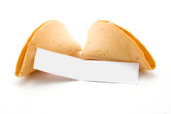 Apra il biscotto di fortuna con il messaggio in bianco Fotografia Stock