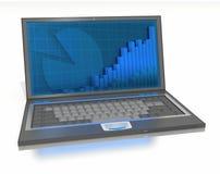 Apra il computer portatile con i grafici e le barre sullo schermo Fotografie Stock