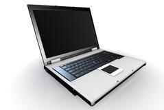 Apra il computer portatile su priorità bassa bianca Fotografie Stock Libere da Diritti