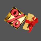 Apra il contenitore di regalo con il segno di percentuali dentro Immagini Stock