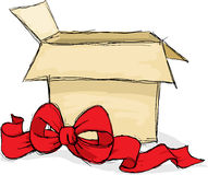 Apra il contenitore di regalo - illustrazione di vettore Immagini Stock