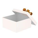 Apra il contenitore di regalo. Isolato su una priorità bassa bianca Fotografia Stock