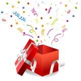 Apra il contenitore di regalo su un bianco Immagini Stock