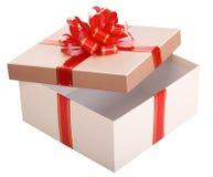 Apra il contenitore di regalo vuoto e l'arco rosso Fotografie Stock Libere da Diritti
