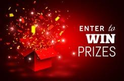 Apra il contenitore ed i coriandoli di regalo rossi Entri per vincere i premi Illustrazione di vettore illustrazione vettoriale