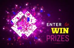 Apra il contenitore ed i coriandoli di regalo su fondo rosa Entri per vincere i premi Illustrazione di vettore royalty illustrazione gratis