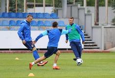 Apra il corso di formazione della squadra di football americano del cittadino dell'Ucraina Fotografie Stock