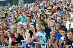 Apra il corso di formazione della squadra di football americano del cittadino dell'Ucraina Immagini Stock
