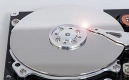 Apra il disco rigido con il disco magnetico e la testina di scrittura Fotografia Stock Libera da Diritti