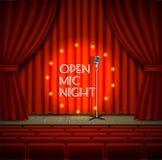 Apra il fondo di vettore dello spettacolo dal vivo di notte del mic illustrazione di stock