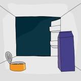 Apra il frigorifero con alimento Fotografie Stock Libere da Diritti
