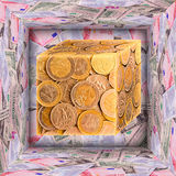 Apra il grande cubo 3d e quello piccolo. Fotografia Stock Libera da Diritti