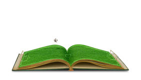 Apra il libro dell'erba verde di stadio di calcio con calcio Fotografia Stock