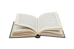 Apra il libro isolato su priorità bassa bianca Di nuovo al banco Copi lo spazio per il testo dell'annuncio Fotografia Stock