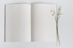 Apra il libro vuoto con il mughetto Fotografia Stock Libera da Diritti