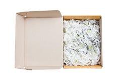 Apra il mucchio della scatola di carta con il inside? urtante delle carte Immagine Stock Libera da Diritti