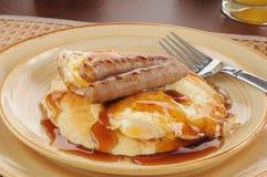 Apra il panino affrontato del pancake Immagini Stock Libere da Diritti
