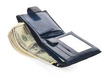 Apra il portafoglio di cuoio blu con soldi Fotografia Stock