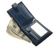 Apra il portafoglio di cuoio blu con soldi Fotografia Stock Libera da Diritti