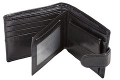 Apra il portafoglio nel colore nero Immagini Stock Libere da Diritti