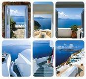 Apra il portone e le scale, conducenti ad un mare L'insieme dalle viste a OIA Immagine Stock